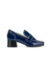 Escarpins en cuir bleu marine Nicole Saldaña
