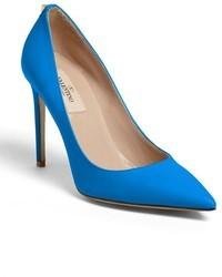 Escarpins en cuir bleus