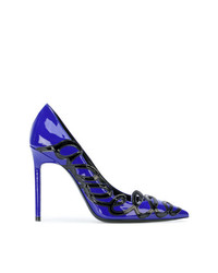 Escarpins en cuir bleus Saint Laurent