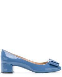 Escarpins en cuir bleus Salvatore Ferragamo