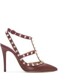 Escarpins en cuir bordeaux Valentino