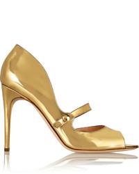 Escarpins en cuir découpés dorés