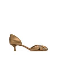 Escarpins en cuir découpés dorés Sarah Chofakian