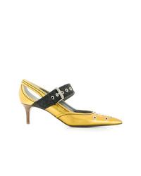 Escarpins en cuir découpés jaunes Bottega Veneta