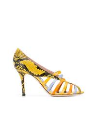 Escarpins en cuir découpés jaunes Emilio Pucci