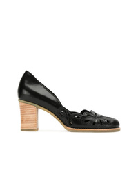 Escarpins en cuir découpés noirs Sarah Chofakian