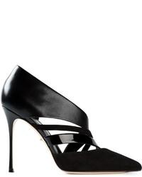 Escarpins en cuir découpés noirs Sergio Rossi