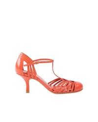 Escarpins en cuir découpés orange Sarah Chofakian