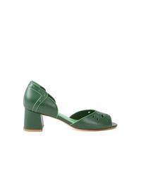 Escarpins en cuir découpés verts Sarah Chofakian
