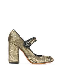 Escarpins en cuir dorés Etro