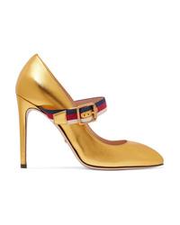 Escarpins en cuir dorés Gucci