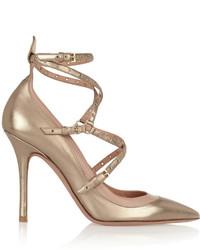 Escarpins en cuir dorés Valentino