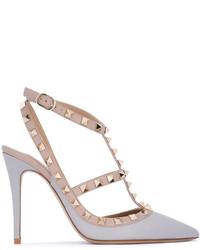 Escarpins en cuir gris Valentino