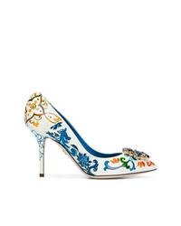 Escarpins en cuir imprimés blancs Dolce & Gabbana