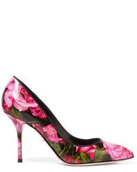 Escarpins en cuir imprimés fuchsia Dolce & Gabbana