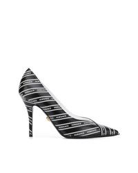Escarpins en cuir imprimés noirs et blancs Versace