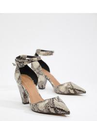 Escarpins en cuir imprimés serpent gris ASOS DESIGN