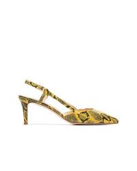 Escarpins en cuir imprimés serpent jaunes Kalda