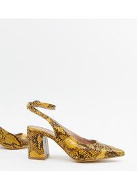 Escarpins en cuir imprimés serpent jaunes New Look