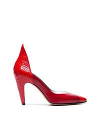 Escarpins en cuir imprimés serpent rouges Givenchy
