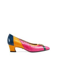 Escarpins en cuir multicolores Gucci