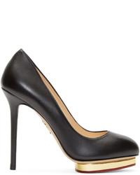 Escarpins en cuir noir et doré Charlotte Olympia