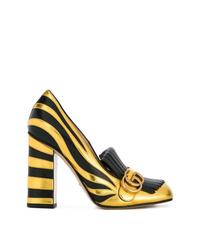 Escarpins en cuir noir et doré Gucci