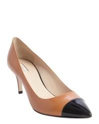 Escarpins en cuir noir et marron clair