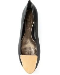 Escarpins en cuir noir et marron clair Alexander McQueen