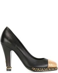 Escarpins en cuir noir et marron clair Chanel