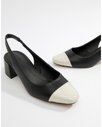 Escarpins en cuir noirs et blancs ASOS DESIGN
