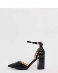 Escarpins en cuir noirs Raid Wide Fit