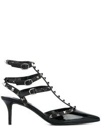 Escarpins en cuir noirs Valentino Garavani