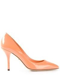 Escarpins en cuir orange