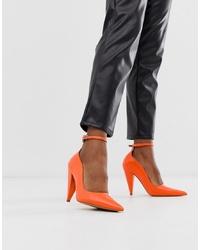 Escarpins en cuir orange ASOS DESIGN