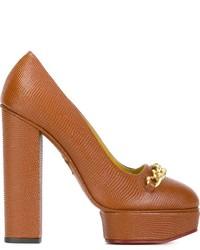 Escarpins en cuir orange Charlotte Olympia