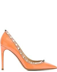Escarpins en cuir orange Valentino Garavani