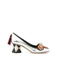 Escarpins en cuir ornés argentés Dolce & Gabbana
