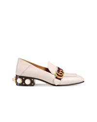 Escarpins en cuir ornés blancs Gucci