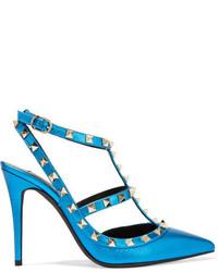 Escarpins en cuir ornés bleu canard Valentino