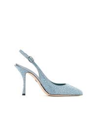 Escarpins en cuir ornés bleu clair Dolce & Gabbana