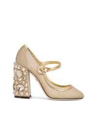 Escarpins en cuir ornés dorés Dolce & Gabbana