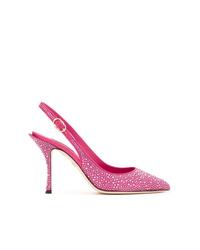 Escarpins en cuir ornés fuchsia Dolce & Gabbana
