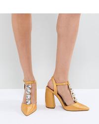 Escarpins en cuir ornés jaunes ASOS DESIGN