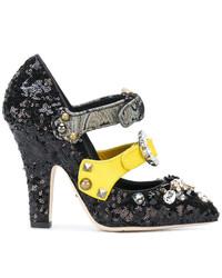 Escarpins en cuir ornés noirs Dolce & Gabbana
