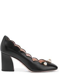Escarpins en cuir ornés noirs Gucci