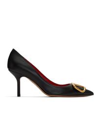 Escarpins en cuir ornés noirs Valentino