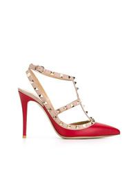 Escarpins en cuir ornés rouges Valentino