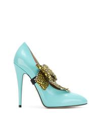 Escarpins en cuir ornés turquoise Gucci