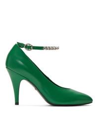 Escarpins en cuir ornés verts Gucci